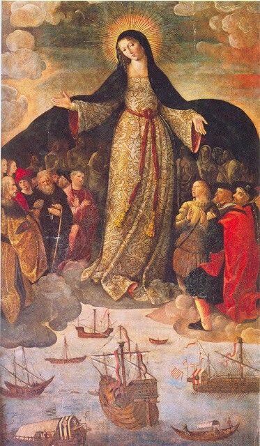 Virgen de los navegantes. 1531-1536.Alejo Fernández  Óleo sobre tabla.  Reales Alcázares. Sevilla