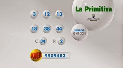 España: Loterías y Apuestas del Estado celebro Los sorteos La Primitiva y Joker correspondiente a la fecha sábado 13 de septiembre 2014