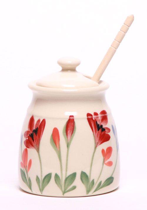 Ceramic Honey Pot - Red Poppy