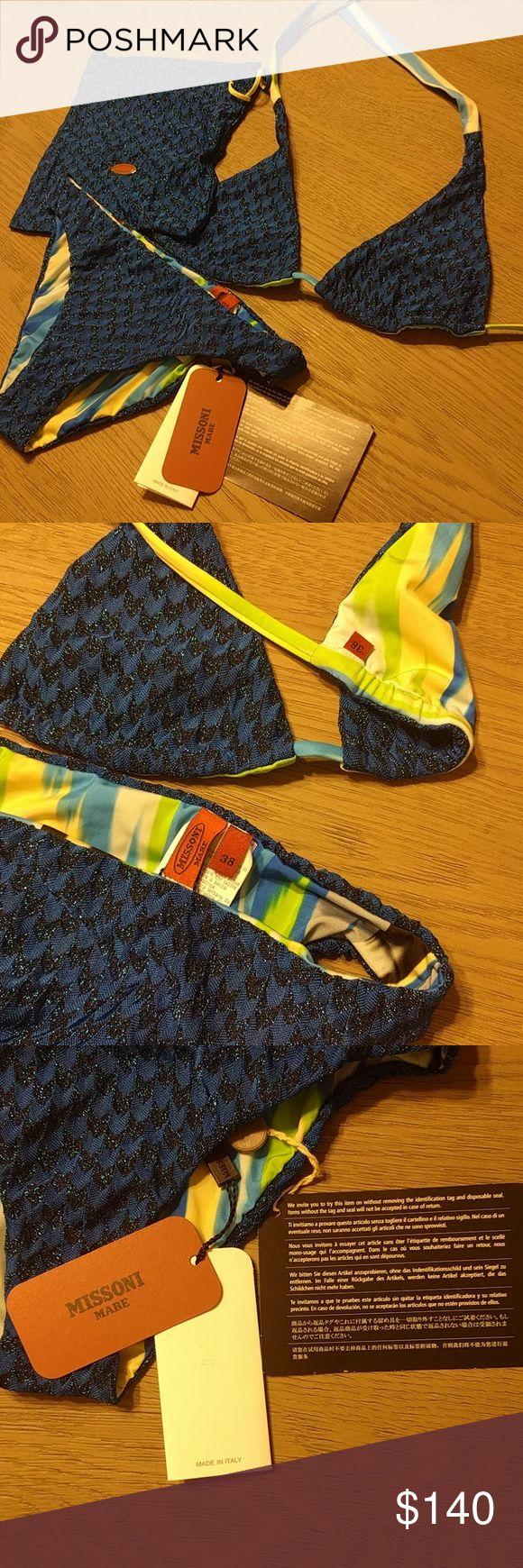 Missoni bikini with pouch BNWT- size 38 Authentic Missoni Blue bikini with pouch and additional missoni nail scratch-ons. All BNWT_? - size 38. Fits like a size 2 Missoni Swim Bikinis