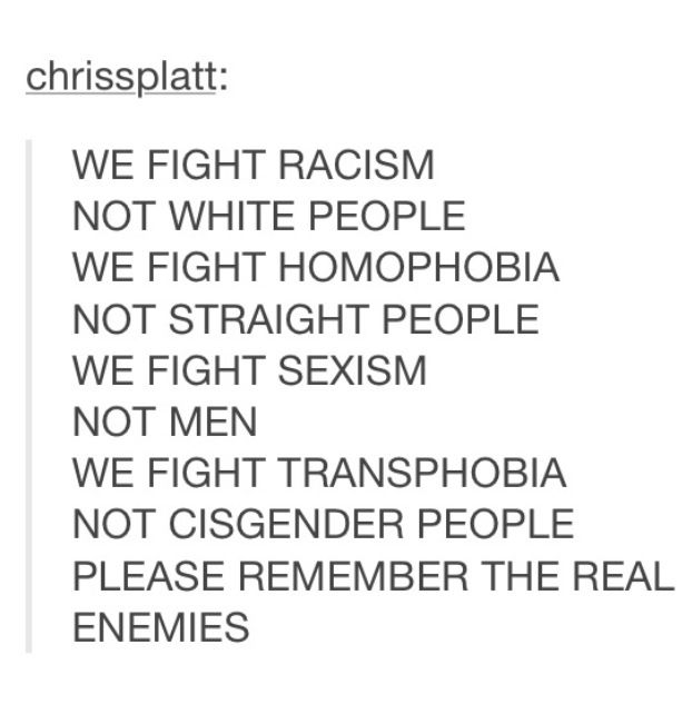 """To all the people that homophobic/racist/sexist/transphobic people cite in their """"your movement is invalid you just hate men/white ppl/cis/straights !!"""""""