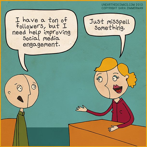 Social media humor and marketing cartoons about engagement by Unearthed Comics #socialmedia #marketing #humor #comics #funny