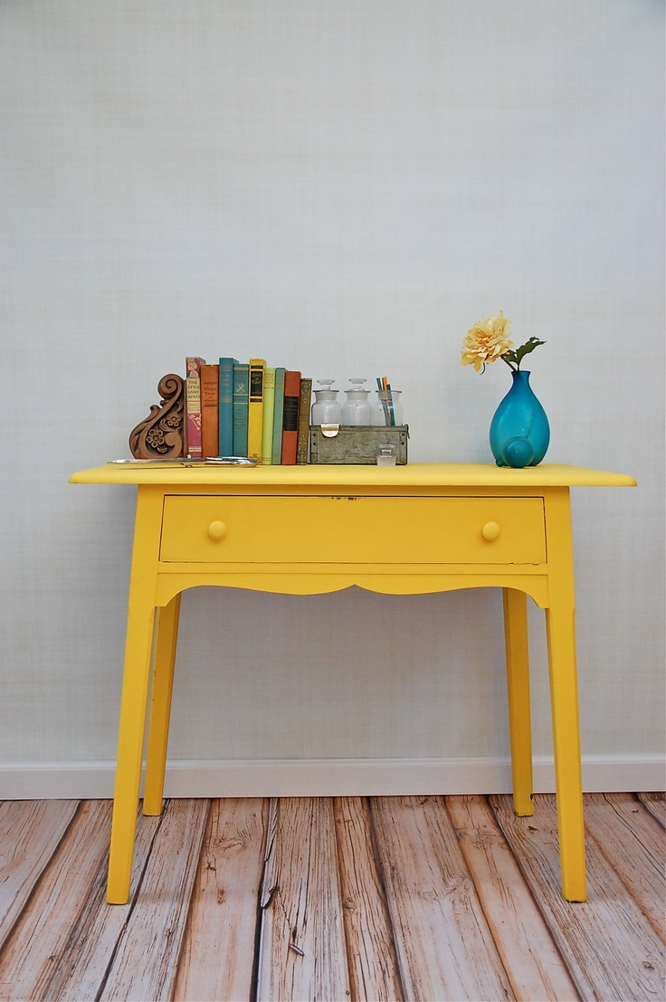 Vintage Sunny Painted Desk with Center Drawer via Etsy.