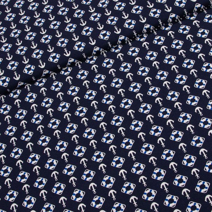 Bavlněný úplet LITTLE DARLING 125.058-3002 modrá kotva, š.150cm (látka v metráži) | Internetový obchod Chci Látky.cz