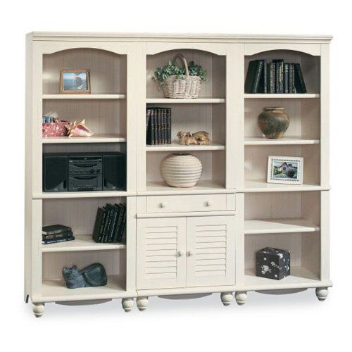 Have to have it. Sauder Harbor View Bookcase Wall - Antique White - $682.99 @hayneedle.com