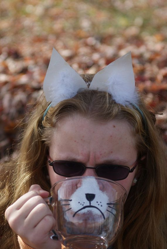 Grumpy Cat ...COFFEE Mug... New Quirky coffee Mugs...Hand Painted.. Reclaimed from Last Chance Store...Great GIfT IDeA...