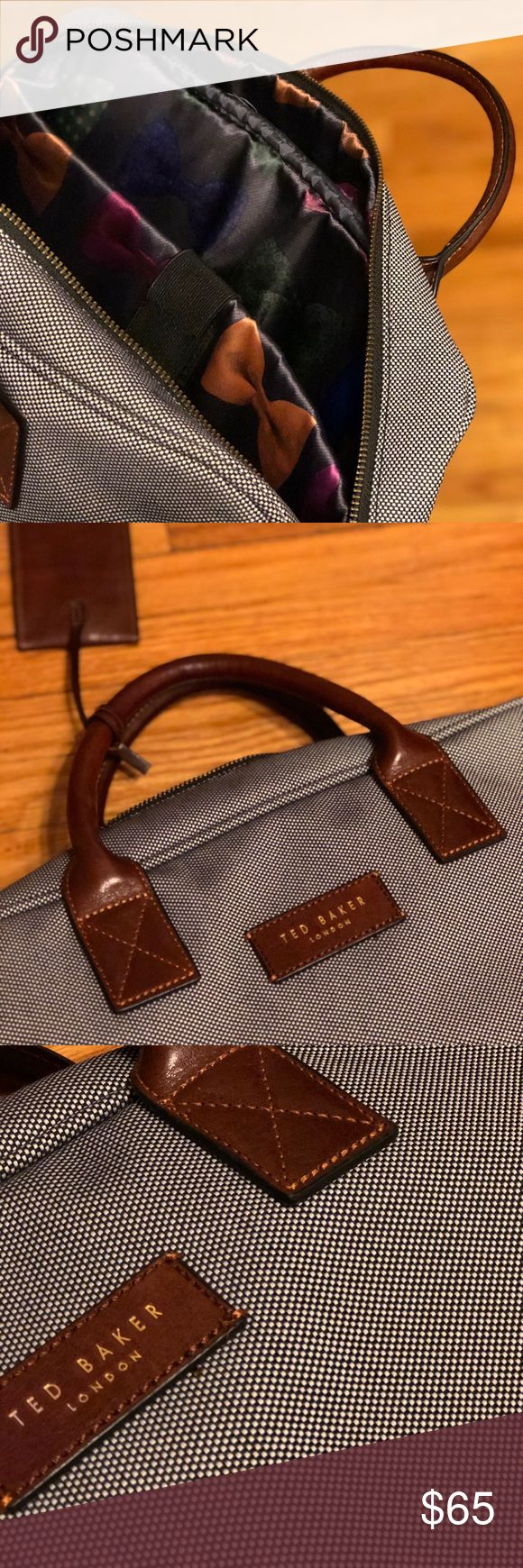 Ted Baker Men's Slim Briefcase Ted Baker Slim Canvas Briefcase, bow tie print liner, internal laptop sleeve, leather handles and luggage tag Ted Baker Bags Briefcases