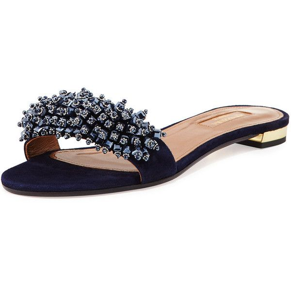 Aquazzura Monaco Beaded Sandal Slide ($475) ❤ liked on Polyvore featuring shoes, sandals, navy, shoes sandals, flat sandals, beaded sandals, navy blue sandals, mule sandals and beaded flat sandals
