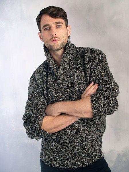 Воротником одна кнопка СВИТЕР: К 4117 [101] - $ 113.80: ирландские свитера Аран свитер, ирландские шерстяные свитера