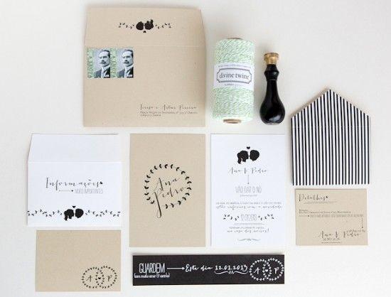 Black and White Silhouette Wedding Invitations Brancoprata 550x418 Ana + Pedros Modern Organic Wedding Invitations