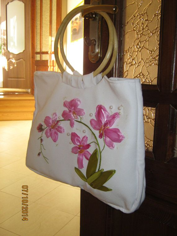 Handbag silk ribbons embroidery by RetroSovietEra on Etsy