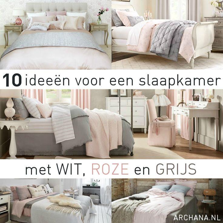 SLAAPKAMERS: 10 ideeën voor een slaapkamer met wit, roze en grijs. Wat dacht je er van om toch kleur in je slaapkamer te brengen met wit, roze en grijs?