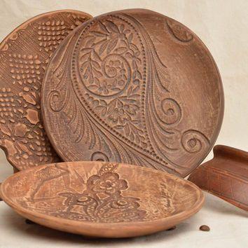 Handmade ceramic plates dinnerware set 3 serving plates stoneware dishes