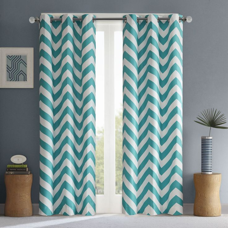 Intelligent Design Pisces Curtain Panel Pair (42x84-Teal), Blue, Size 42 x 84 (Polyester, Chevron)