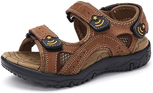 Enjoy exclusive for Maizun Kid's Sandals Boy's Leather Outdoor Open Toe Summer Sport Casual Fisherman Non-Slip Strap Sandal online