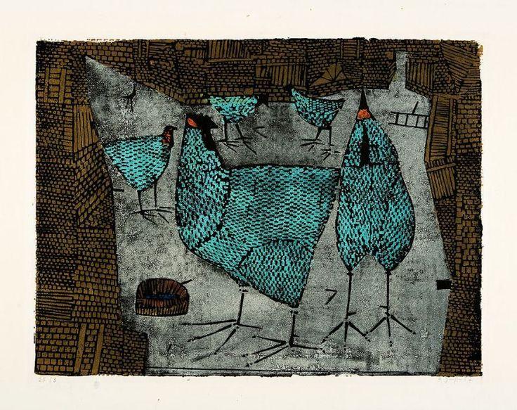 Horst Janssen (1929 Hamburg 1995) - Hühner, Farbholzschnitt auf Japan, 1957