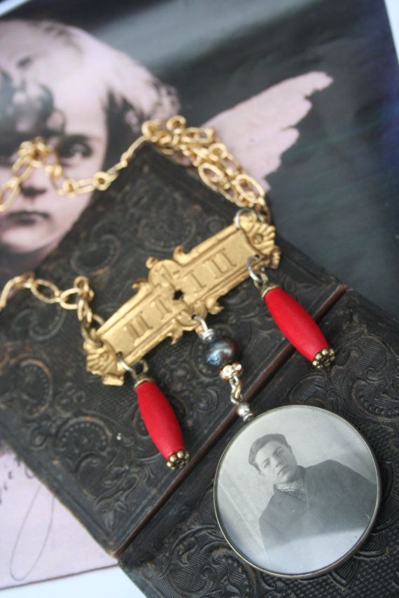 Antique photo locket necklace Assemblage jewelry Eclectic