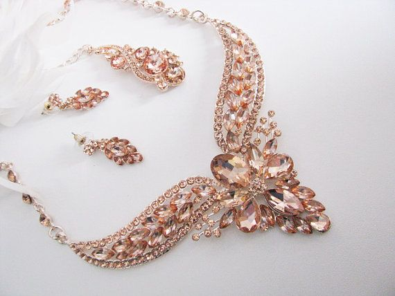 Rose Gold Bridal Statement Necklace Set Peach Jewelry Set