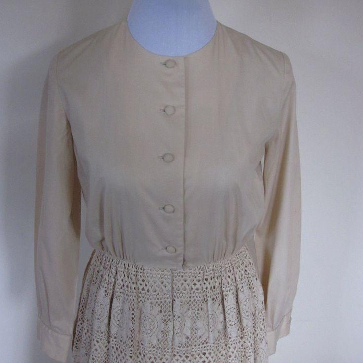 VINTAGE authentic 50s retro ecru beige soft woven cotton crochet lace button shirt dress made in USA (equiv sz us 6, uk au nz 10, eu 38) by shopblackheart on Etsy