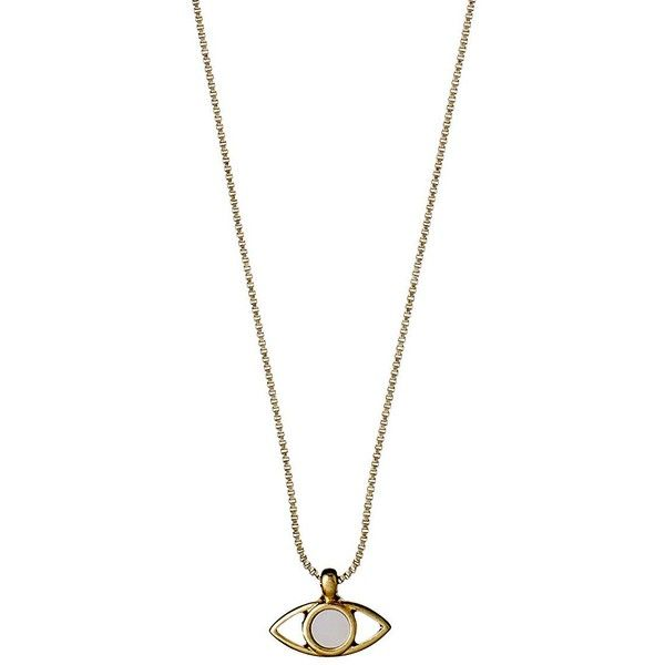 Pilgrim Lianne Eye Pendant Chain Necklace ($49) ❤ liked on Polyvore featuring jewelry, necklaces, gold, pilgrim necklace, chain pendant necklace, lobster clasp necklace, pilgrim jewellery and pendant jewelry