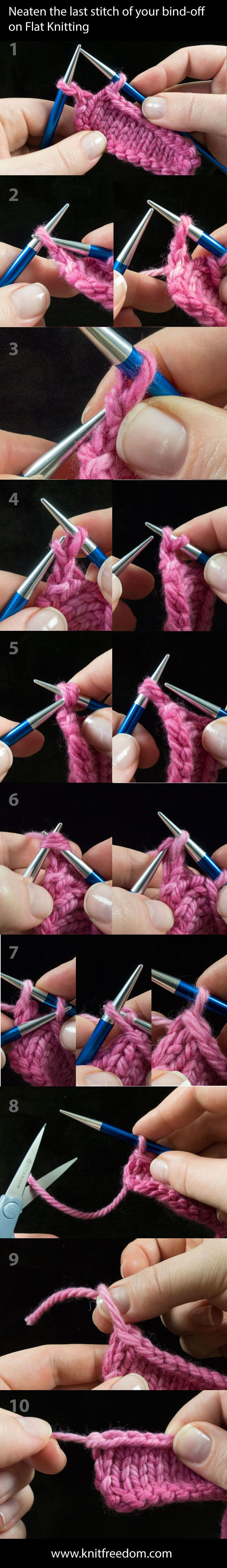Neaten the last stitch of your bind-off on flat knitting - such a simple idea  what a difference it can make