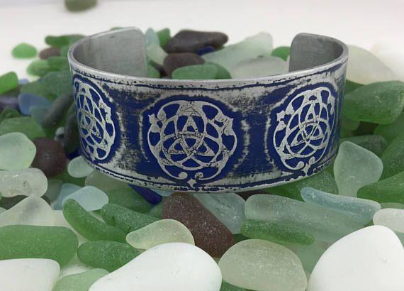Bohemin Blue Celtic Life SymbolEtched Aluminum Cuff Bracelet Cuff Jewelry Mens Womans Birthday Gift Irish