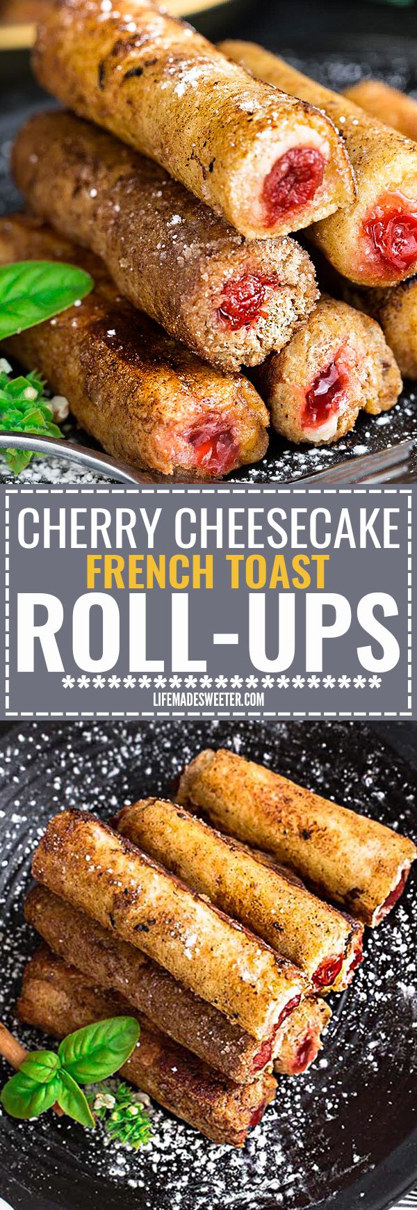 Cherry Cheesecake French Toast Roll Ups