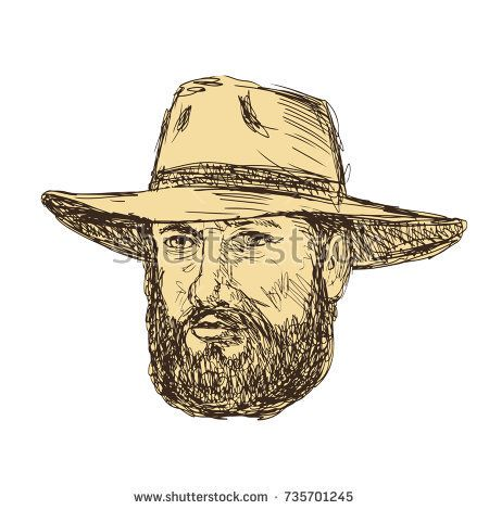 Drawing sketch style illustration of a Bearded Cowboy Head wearing a hat viewed from front on isolated background.  #cowboy #drawing #illustration
