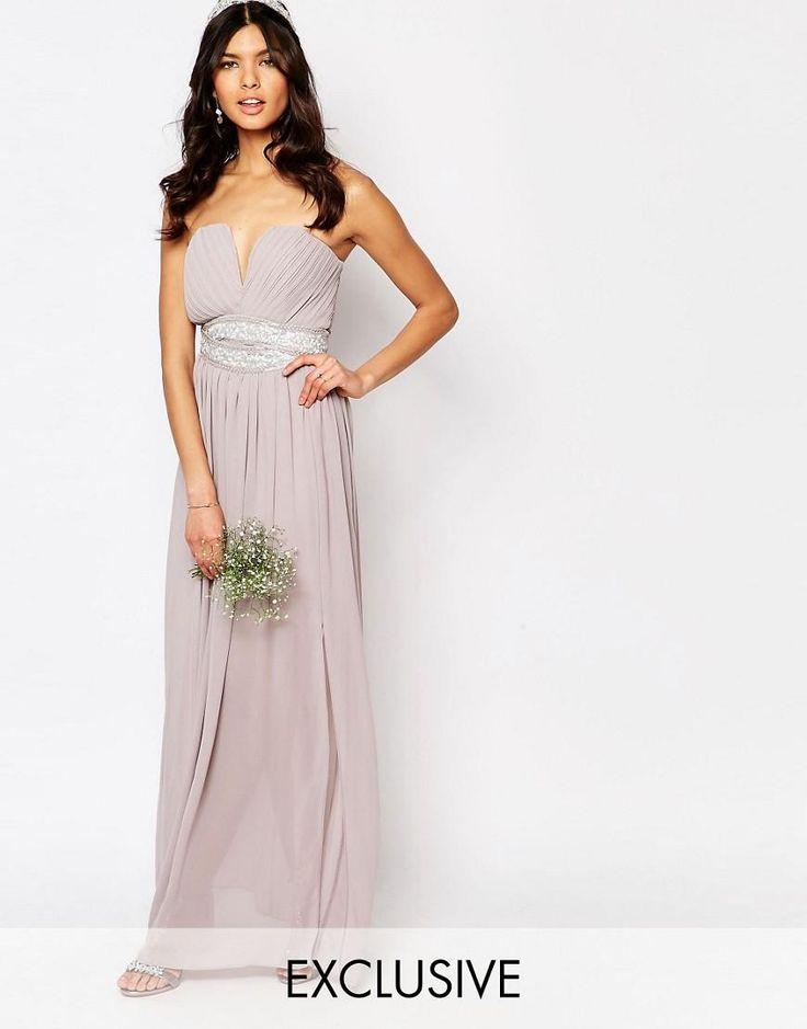 TFNC | TFNC WEDDING Pleated Embellished Waist Maxi Dress at ASOS