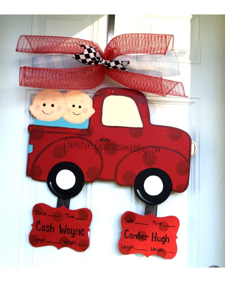 Twin baby announcement, twin door hanger,twin birth decor,twin hospital baby wreath,twin baby Door hanger,twin baby carriage door hanger by Furnitureflipalabama on Etsy