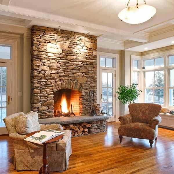 all about stone veneer stone fireplace surround to ceiling in living area - How To Stone Veneer Fireplace