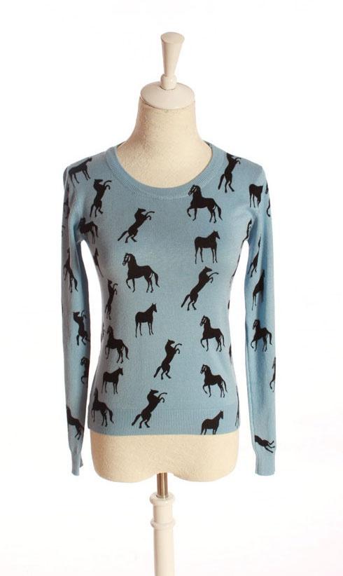 I heart HorsesPrints Jumpers, Blue Long, Horses Hop, Sleeve Horses, Closest, Heart Horses, Horses Prints, Hors Prints, Horses Sweaters
