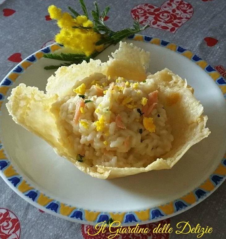 Riso+al+salmone+in+cialda+di+grana