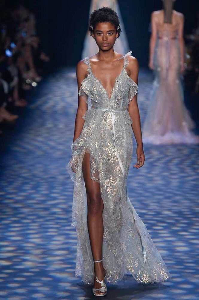 Marchesa Spring 2017 Ready-to-Wear: I love this ice blue color! The shiny fabric is beautiful!
