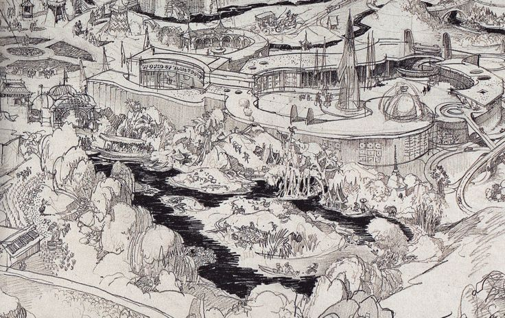 A close of Herb Ryman's first map of Disneyland, showing the Jungle Cruise on the eastside, next to tomorrowland.