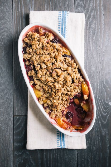 Peach Berry Crumble recipe. I would take out the cornstarch but otherwise this looks delish!