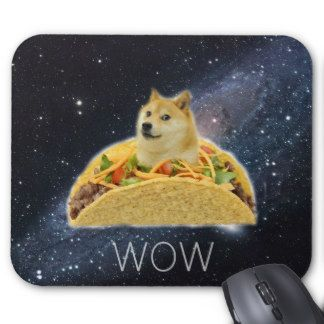 galaxy doge wow such taco mouse pad