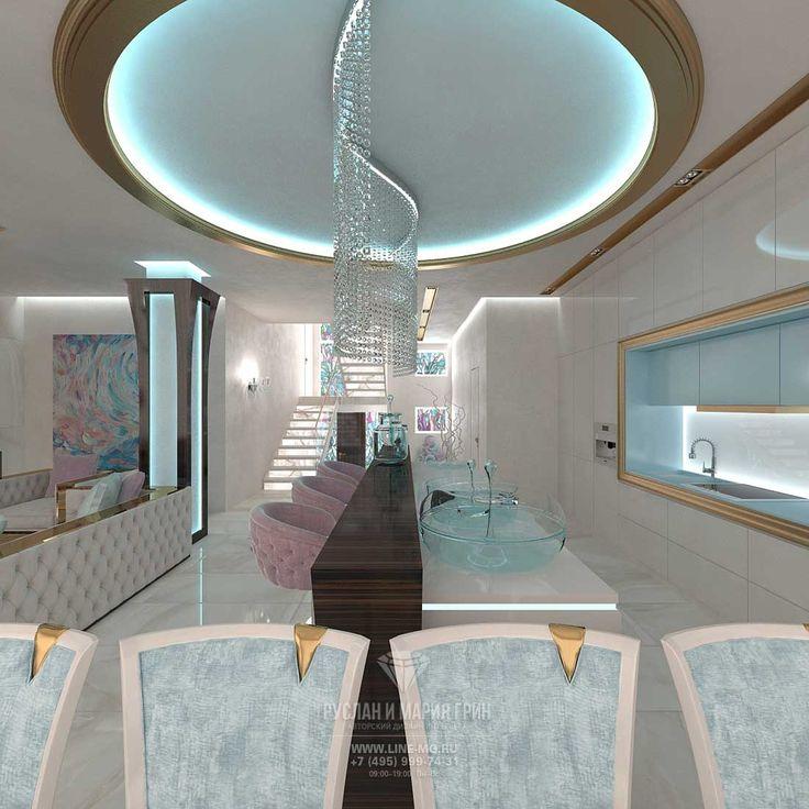 Дизайн кухни-столовой-гостиной в доме  http://www.interior-design.biz/dizayn-zagorodnogo-doma-ruza-family-park