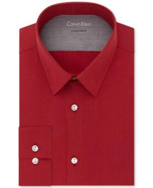 Calvin Klein X Men's Extra-Slim Fit Stretch Performance Non-Iron Dress Shirt - Red 15-15 1/2 34-35