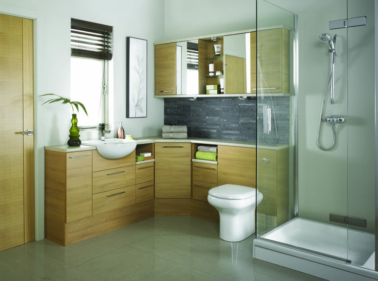 Pic Of This Charming Light Oak Bathroom make Practical use of the Space with a Splayed Corner unit