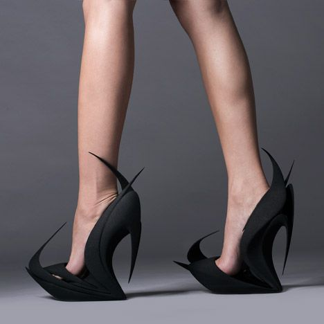 """""""United Nude founder Rem D Koolhaas enlisted architects Zaha Hadid, Ben van Berkel and Fernando Romero, and designers Ross Lovegrove and Michael Young, to create pairs of women's shoes solely using 3D printing."""" (DeZeen Magazine)"""