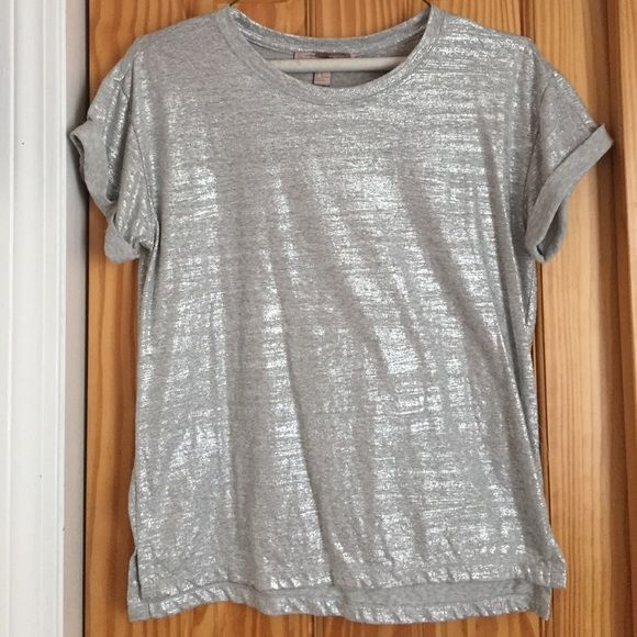 Shimmery silver tee This tee has cute folded cuffs on the sleeves. It was worn once Forever 21 Tops