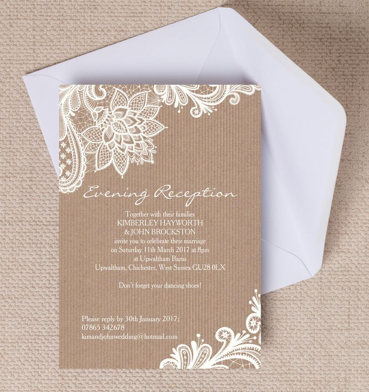 Top 10 Printable Evening Wedding Reception Invitations - Rustic Lace