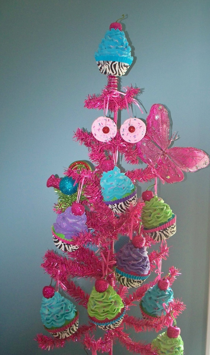 Leopard Fake Cupcake Ornaments, Turquoise, Hot Pink, Striped Straws,  Christmas Tree Ornaments
