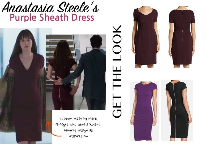 fifty shades anastasia anna purple wine business meeting dress zipper dakota johnson