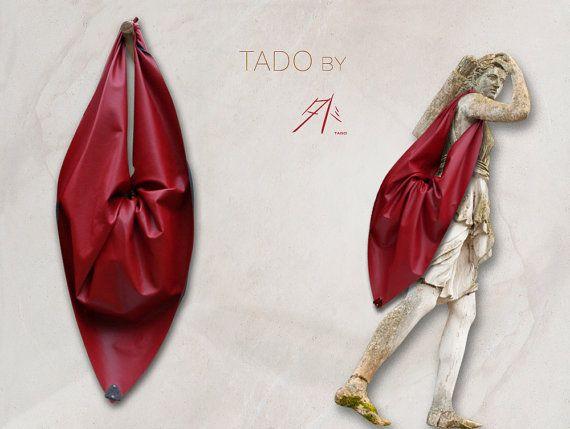 TADO  Sac Besace  simili cuir rouge  Furoshiki par PureTado sur Etsy