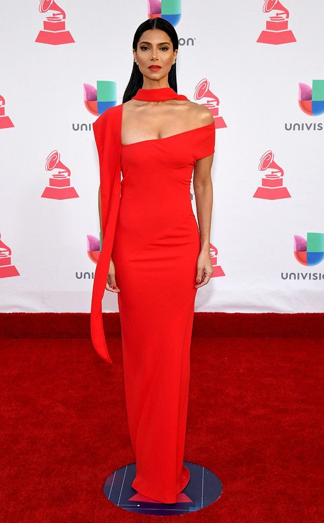 Roselyn Sanchez from 2016 Latin Grammy Awards vibrant red gown