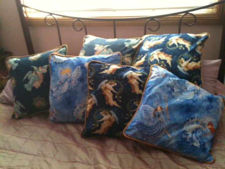 Cherub Cushions - I used thin rope in the binding around the cushions.