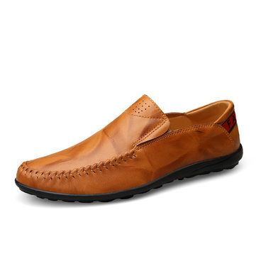 Big Size Men Genuine Leather Comfortable Slip On Business Casual Shoes - NewChic Mobile.