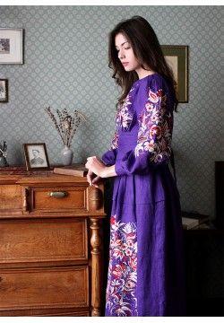 Фиолетовое платье с вышитыми птицами ПЛ-770357